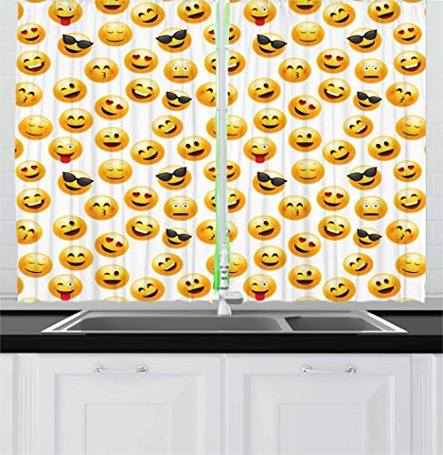 """Ambesonne Emoji Kitchen Curtains, Smiley Face Character Illustration Feeling Happy Surprised Cool and in Love, Window Drapes 2 Panel Set for Kitchen Cafe Decor, 55"""" X 39"""", Yellow Black"""