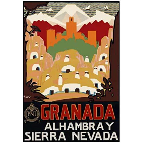 Ignite Wander Carteles e Impresiones Vintage Sierra Nevada España Viaje Lienzo Pintura artística para Sala de Estar decoración del hogar -50x75 cm sin Marco 1 Uds
