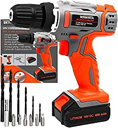LI-ION POWER: The Terratek 18V/20V Lithium-Ion Cordless Drill Set is supplied with a powerful Li-ion battery which results in having no memory effect, no self-discharge and always ready for use. Peaking at 20V from a fresh charge the battery stabilis...
