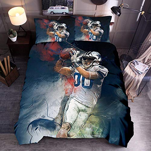 Rmooaceo 3D Bedding Set Printed Duvet Cover Set - Rugby Sports Player - (Single: 135 X 200 Cm) + 2 Pillowcase 50 X 75 Cm Soft Hypoallergenic Brushed Microfibre Bedding