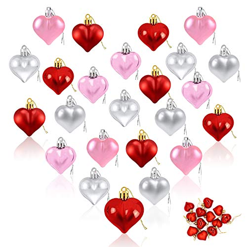 Mother's Day Heart Ornaments Hanging, Baubles Heart Shaped Christmas Tree Baubles Heart Hanging Decorations for Wedding Anniversary Easter Hanging Ornaments