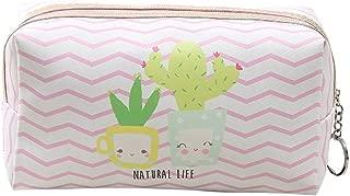 HOYOFO Cactus Makeup Pouch Travel Cosmetic Bags Handy Makeup Bag for Women, Chevron
