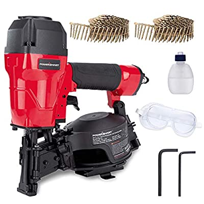 "POWERSMART Roofing Nailer, 3/4"" to 1-3/4"" Pneumatic Roofing Nail Gun, 15° Coil Nailer, 120 Nails Capacity Magazine, Coil Nailer Kit, Safety Goggles, 240 PCS Nails Included, PS6110"