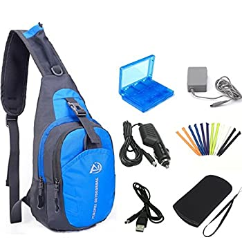 YB-OSANA 7 in 1 Travel Backpack Crossbody Bag + 3DS XL AC Adapter+ 3DS Car Charger +Soft Protective Bag+3DS Game Card Case+ New 3DS XL Stylus+ USB Charging Cable for Nintendo New 3DS XL Travel Kit
