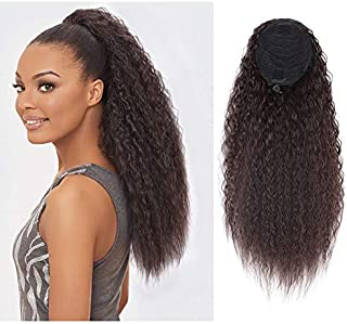 AISI QUEENS 22'' Synthetic Drawstring Ponytail Extension Straight Kinky Ponytail Bun Ponytail Clip on Hair Extensions Ponytail for Women (Color:2/33#)