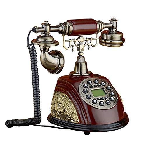 JUNMIN Teléfono Antiguo Retro Vintage Home Landline Europeo y Americano Solid Wood Teléfono