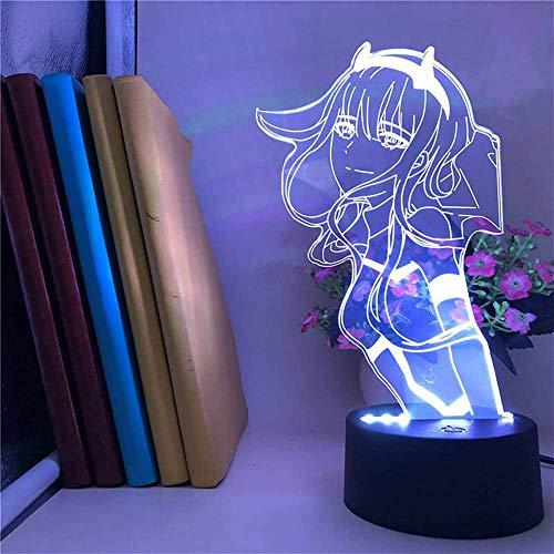 Darling in The Nachtlicht 3D Illusion 02 Zero Two Figure Anime Character Lámpara de mesa USB Powered 7 luces LED de colores con interruptor táctil para niños Regalos Decoración de dormitorio