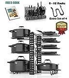 SKATCO Pots and Pans Organizer – Metal Pan Organizer Rack – Pantry & Kitchen Cabinet Organizer...