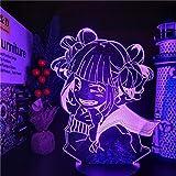MY HERO ACADEMY Himiko Toga LÁMPARA DE ANIME 3D Boku no Hero Academia Cross my body Luces de noche para decoración de dormitorio, control remoto con base negra