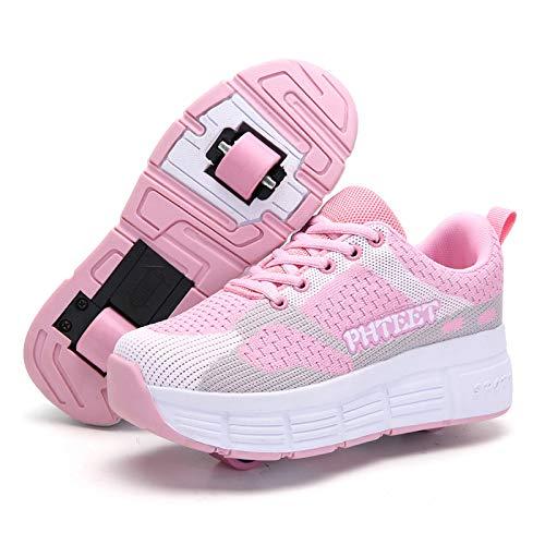 ZZRA Zapatos de polea técnica retráctiles automáticos en línea de Doble Rueda Unisex, Zapatos de Patinaje sobre Ruedas Zapatillas de Deporte Que Brillan intensamente LED niños niñas Zapatos Skate USB