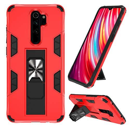 KUAWEI Note 8 Pro Hülle Redmi Note 8 Pro Handyhülle Case Cover Doppelte Schutzschicht Handyhülle mit Ständer Funktion und Auto Halterung Funktion für Redmi Note 8 Pro (Rot)