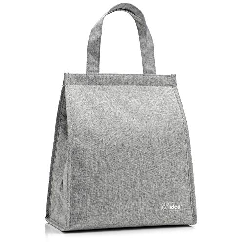 Lunch Bag For Men Women CCidea Simple Waterproof Insulated Large Adult Lunch Tote Bag 8 Colors AvailableGrey
