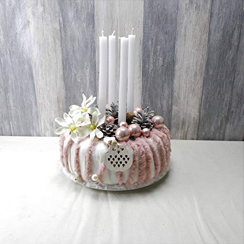 Adventskranz, rosa mit Stabkerzen, Tischkranz, Weihnachten, Adventsdeko,