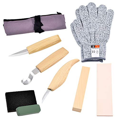 WANDIC Carving Kit, 9 PCS Wood Carving Tools Include Carving Hook Knife, Whittling Knife, Chip Carving Knife, Carving Knife Sharpener, Wood Block, Cut Resistant Gloves for Spoon Bowl Cup Woodworking