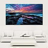 YCOLLC Sin marcoDecoración de la Pared Impresión Pintura Puesta de Sol Costa del Cabo Costa Arte Lienzo Imagen para Sala de Estar y Dormitorio