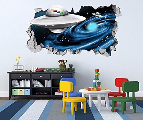 3D Spacecraft Wall Murals Stickers Decal Breakthrough Wallpaper