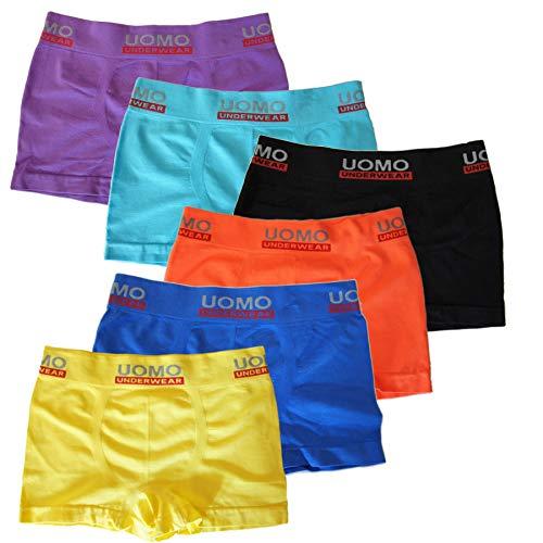 UOMO Kinderboxershorts Kinder Jungen Unterwäsche Jungenshorts Shorts Unifarben 6er Pack / 12er Pack (6, 164-176 (14-16 Jahre))