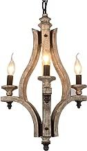 DOCHEER Vintage Rustic Wooden Chandelier 3-Light Retro Wood Metal Chandeliers Pendant Lamp Fixture Lighting for Kitchen Island, Dining Room Lighting