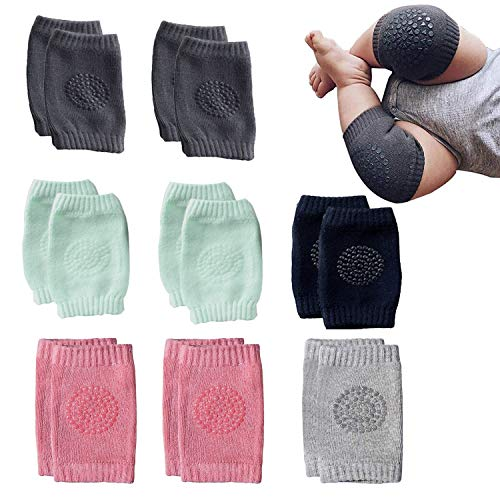 NEPAK 8 Pairs Baby Crawling Anti-Slip Knee Baby Knee Pads For Crawling and safety Walking Anti Slip,Unisex Baby Toddlers Kneepads, 2light Pink+ 2dark Grey+ 2green+ 1black+ 1gray