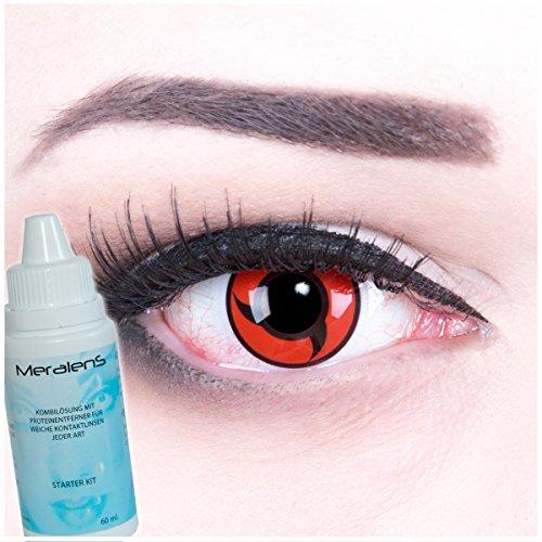 Meralens A0466 Itachi Kontaktlinsen mit 60ml Pflegemittel mit Behälter ohne Stärke, 1er Pack (1 x 2 Stück)