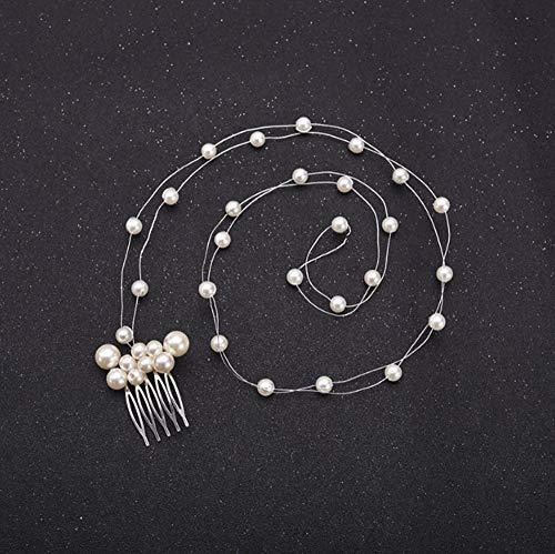 TIANYIHUI Hochzeitskopfschmuck Perlenhaar, Zubehör für Braut Kristallkrone Blumenhaar Ornamente Haarnadel A.