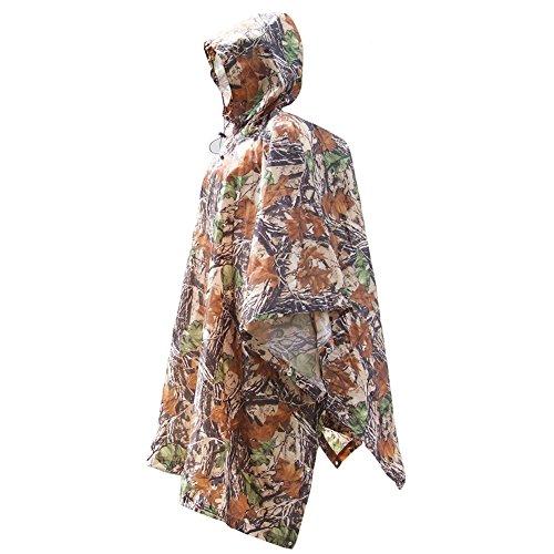 ZUOAO Multifonctionnel Camouflage Poncho de Pluie Portable, Poncho Ripstop, Camouflage à Chasse Équitation Randonnée Camping, Vêtement de Pluie Etanche, Poids Léger et Pliable …