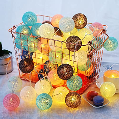 Cadena de bolas de algodón LED Lihgt, bombilla de luces de noche de hadas, lámpara de bola de batería de luz de cadena de bolas de algodón colorida LED, para vacaciones, hogar, fiesta, decoración de i