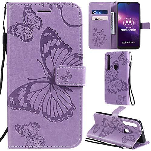DodoBuy Motorola One Macro/G8 Play Hülle 3D Schmetterling Muster Prämie PU Leder Schutzhülle Tasche Hülle Flip Cover Brieftasche Ständer mit Kartenfächer Kartenfach für Moto One Macro/G8 Play - Lila