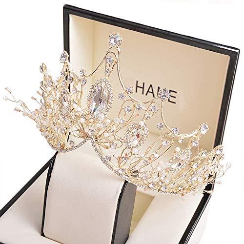 Wedding Crown for Bride Rhinestone Princess tiara for Women Prom Queen Crown Pageant-Bridal Wedding Crown Handmade Hair Accessories Rose Gold Crown
