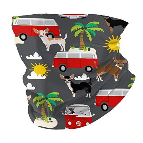 ZHANGPEIENfaqi Chihuahua Summer Beach – Surf, perro, árboles, máscara de carbón para la cara, variedad de la cabeza, bufanda para el cuello, bufanda, cubrebocas, bufanda