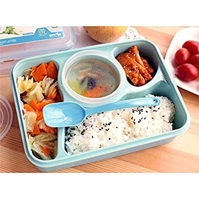 COFFLED BPA-Free Plastic Bento Lunch Box, Resuable Microwavable Dishwasher Safe and Stackable Food Storage Container with 5 Compartments