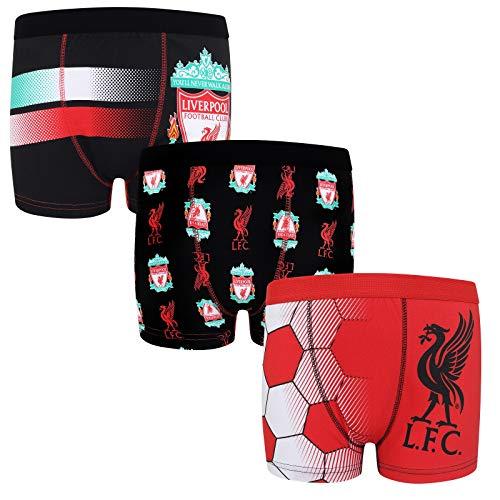 Liverpool FC - Jungen Boxershorts mit Wappen - Offizielles Merchandise - 3 Paar - Schwarz - 11-12 Jahre