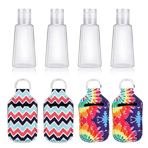 Ertisa Botella de Viaje, 4 Pack Botella de Viaje de Plástico con Llavero, Prueba de Fugas (30 ml) para champús, lociones y artículos de tocador, FDA Certified BPA Free