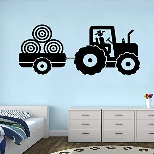 zangtang Tractor, vinyl, zelfklevend, voor kinderen, kinderkamer, aanhanger, boerderij, jongens, kamer, decoratie, effen kleur, affiche