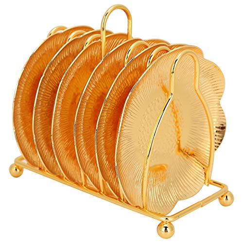 Posavasos de 4 pulgadas, juego de 6, posavasos de metal dorado con soporte, plato para servir aperitivos para cocina, cafetería, bar, mesa de centro, decoración(Oro)