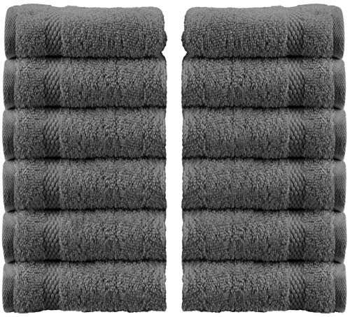 White Classic Luxury Cotton Washcloths - Large Hotel Spa Bathroom Face Towel | 12 Pack | Gray