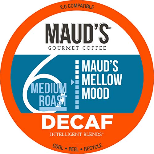 Maud's Decaf Medium Dark Roast Coffee (Mellow Mood), 100ct. Recyclable Single Serve Decaf Coffee Pods – 100% Arabica Coffee California Roasted, Decaf KCups Compatible