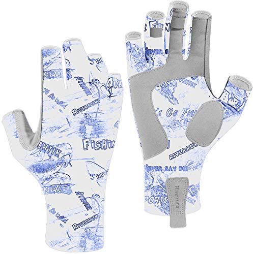 Riverruns Fingerless Fishing Gloves- Fishing Sun Gloves- UV Protection Gloves Men and Women Fishing, Boating, Kayaking, Hiking, Running, Cycling and Driving. (Blue Graffiti, L)