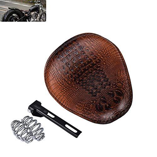 NATGIC Universal Motorcycle Crocodile Leather Saddle Solo Seat Cushion Spring for Harley/Honda/Yamaha/Kawasaki/Suzuki/Sportster/Bobber/Chopper (Brown)
