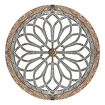 LisYOU Heritage Round Wall Art - Retro Heritage Round Wall Art Wooden Hanging Ornament Metal Decorative Wall Medallions Creative Metal Home Art Wall Decor Handmade Creative Wall Art  C