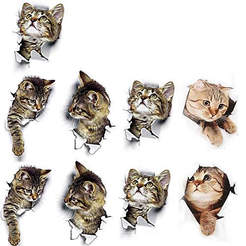 Hpamba 3D Katzen Kombination Heimdekoration Katzen Aufkleber Wandtattoo 3D für Toilette Fenster 3D Katzen Wandtattoo Kombination WC-Aufkleber Dekor Wandsticker Wandaufkleber 3D Katzen Kühlraum 9 Stück