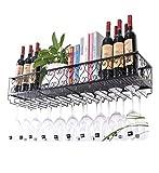 TIANPIN Botelleros de Pared para Vino |Soporte para Copa de Vino Colgante |Porta Botella de Vino Vintage |Porta Vino rústico montado en la Pared |Soporte para Copas |Estante Organizador de Alma