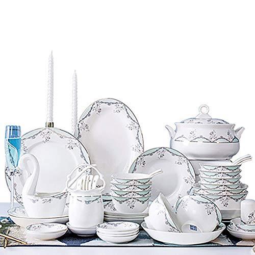 ZMHVOL Conjunto de Cena de cerámica Conjunto de vajillas Hueso Hogar China Cuenco de arroz Placa de cerámica Vajilla Cerámica Juego de cerámica (Color: Blanco, Tamaño: 56pc) WANGHN