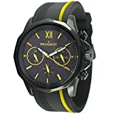 Peugeot Men Big Face Chronograph Sport Watch - Round with Day, Date. 24 Hours Sub Dial Windows & Silicone Strap, Yellow