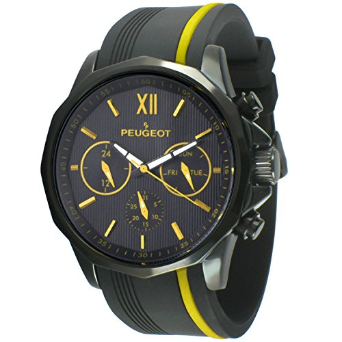 PP Peugeot Herren analog Quarz Uhr mit Silikon Armband 2046BYL