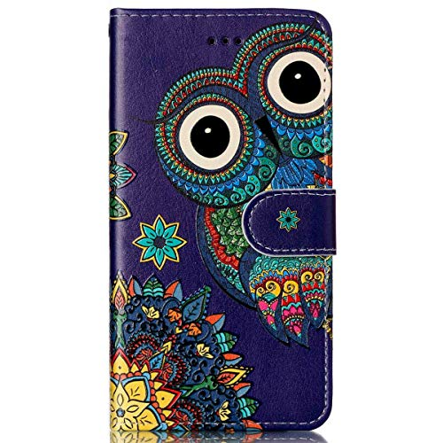 kompatibel mit Galaxy S7 Hülle,Galaxy S7 Schutzhülle,Galaxy S7 Leder Tasche,Surakey Lederhülle Galaxy S7 PU Leder Flip Case Brieftasche Hülle Wallet Tasche Case für Galaxy S7,Blue Owl