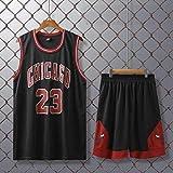 GJM Camiseta de Verano Hombres Camiseta # 23 Uniformes Chicago Bulls de Baloncesto Trajes Retro Jerseys del Baloncesto de Verano Kits de Top + Short 1 Set Ropa Deportiva (Color : Black, Size : L)