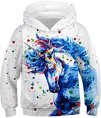 Silver Basic Sweat à Capuche Fille Manches Longues Halloween Motif Sweat-Shirt Animal Imprimé Galaxie Noël Vêtement de Rue(Splash Licorne-1,XS(Hauteur: 105-115cm))