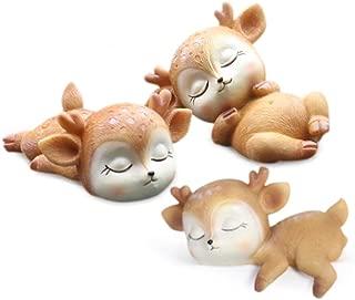 Deer Figurines Cake Toppers, Miniature Resin Deer Toy Figures, Sleeping Baby Deer