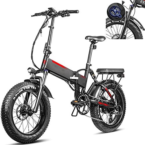 Bicicleta eléctrica Velocidad máxima de conducción 45 km/h Bicicletas eléctricas de montaña Plegable Bicicletas eléctricas Iones de Litio 13.6AH Freno Frenos de Disco mecánicos, Negro